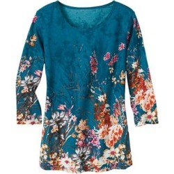 Haband Womens 3/4-Sleeve Print Artista Knit Top, Dark Teal, Size XL found on Bargain Bro Philippines from Haband for $21.99