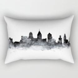 Philadelphia Skyline Rectangular Pillow by Monn - Small (17