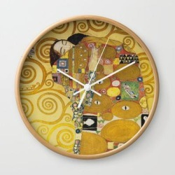 Wall Clock | The Embrace - Gustav Klimt by Fineartpaintings - Natural - White - Society6 found on Bargain Bro from Society6 for USD $17.02