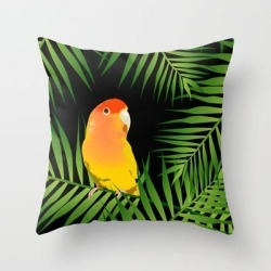 """Throw Pillow   Lovebird Parrots In Green Palm Leaves On Black by Popparrot - Cover (16"""" x 16"""") with pillow insert - Indoor Pillow - Society6"""