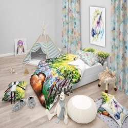 Designart 'Brown Dog in Forest' Modern kids Bedding Set - Duvet Cover & Shams (2 Piece - Twin Cover + 1 sham (comforter not included)), Green, DESIGN found on Bargain Bro India from Overstock for $91.79