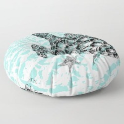 """Sea Turtle Print In Black And White Floor Pillow by Rachel's Fine Lines - ROUND - 30"""" x 30"""""""
