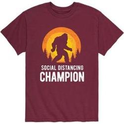 Instant Message Mens Men's Tee Shirts MAROON - Maroon 'Social Distancing Champion' Sasquatch Tee - Men