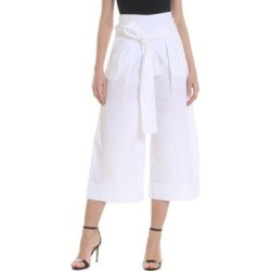 Wide White Crop Trousers - White - Fuzzi Pants found on MODAPINS from lyst.com for USD $156.00
