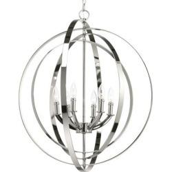 Equinox Polished Nickel 6-light Sphere Pendant with Candelabra Lamps - N/A (Antique Bronze), Gray, Progress Lighting