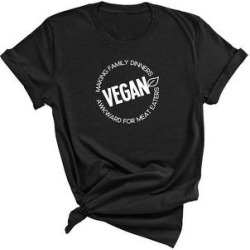 Vegan, Making Family Dinners Awkward for Meat Eaters - Funny T-Shirt (S - Black), Adult Unisex
