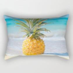 Aloha Pineapple Beach Kanaha Maui Hawaii Rectangular Pillow by Sharon Mau - Small (17