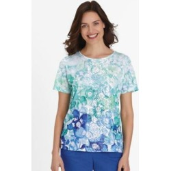 Women's Alfred Dunner Short-Sleeve Ombré Flowers Knit Top, Kiwi Green S Misses found on Bargain Bro India from Blair.com for $34.99