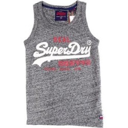 Superdry Mens Shirt Heather Gray Size Small S Tank Top Logo Sleeveless (S), Men's(cotton) found on Bargain Bro from Overstock for USD $12.90