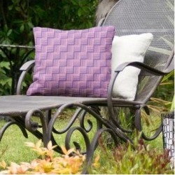 Rockport Color Contrast Basketweave Indoor/Outdoor Pillow by Havenside Home (16 x 16 - Purple & Pink - N/A), Multicolor(Synthetic Fiber, Stripe) found on Bargain Bro Philippines from Overstock for $49.49