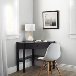 Porch & Den Lincoln Solid Wood/MDF Corner Computer Desk (Black) found on Bargain Bro Philippines from Overstock for $113.89