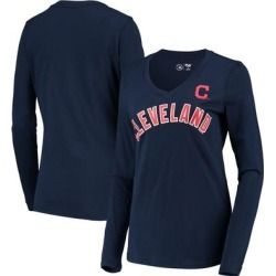 Cleveland Indians G-III 4Her by Carl Banks Women's Post Season Long Sleeve T-Shirt - Navy found on Bargain Bro India from Fanatics for $22.99
