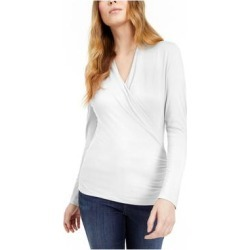 INC Womens White Solid Long Sleeve V Neck Wrap Top Size XS (White - XS), Women's(Rayon) found on Bargain Bro India from Overstock for $14.98