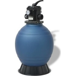 vidaXL Pool Sand Filter with 6 Position Valve Blue 18 inch found on Bargain Bro Philippines from Overstock for $267.99