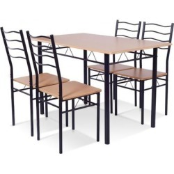 Costway 5 pcs Wood Metal Dining Table Set with 4 Chairs found on Bargain Bro from Costway for USD $113.96