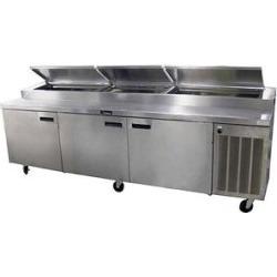 """Delfield 186114PTBMP 114"""" Three Door Refrigerated Pizza Prep Table"""