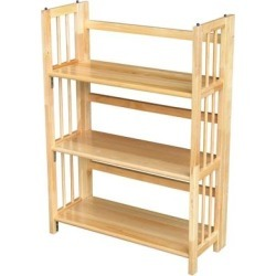 3-Shelf Folding Bookcase Storage Shelves in Natural Wood Finish found on Bargain Bro from Overstock for USD $151.38