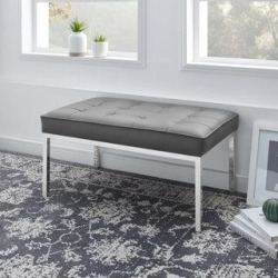 Loft Tufted Button Medium Upholstered Faux Leather Bench (Grey), Gray, Modway found on Bargain Bro from Overstock for USD $231.41