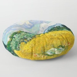 Floor Pillow   Vincent Van Gogh - Wheat Field With Cypresses by Old Masters - ROUND - 30