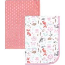 Hudson Baby Girls' Swaddle Blankets Woodland - White & Pink Woodland Fox Swaddle Blanket - Set of Two