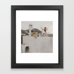 Framed Art Print | Classical Masterpiece Capri Girl On A Rooftop By John Singer Sargent by Jeanpaul Ferro - Vector Black - X-Small-10x12 - Society6 found on Bargain Bro India from Society6 for $47.99