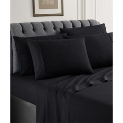 Spirit Linen Home Sheet Sets BLACK - Black Microfiber Six-Piece Sheet Set found on Bargain Bro Philippines from zulily.com for $21.99