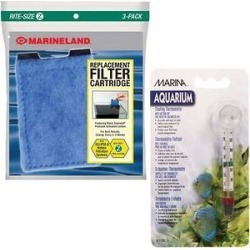 Marineland Eclipse Rite-Size Z Filter Cartridge, 3 count & Marina Floating Thermometer with Suction Cup for Aquariums found on Bargain Bro from Chewy.com for USD $4.92