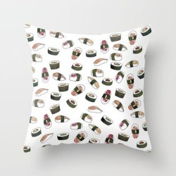 Couch Throw Pillow | Sushi On White by Jordyn St. John - Cover (16