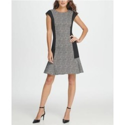 DKNY Black Cap Sleeve Above The Knee Fit + Flare Dress Size 10 (Black - 10), Women's(knit, Print) found on Bargain Bro India from Overstock for $33.98