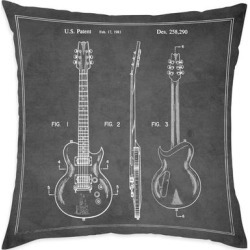 Oliver Gal 'Electric Guitar Charcoal' Decorative Throw Pillow, Black, Oliver Gal Artist Co.(Microfiber, Graphic Print) found on Bargain Bro from Overstock for USD $44.45