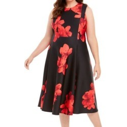 Calvin Klein Women's Dress Black Size 18W Plus Sheath Floral Midi (18W)(polyester) found on Bargain Bro from Overstock for USD $44.06