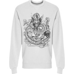 Mythological Chinese Dragon Sweatshirt Men's -Image by Shutterstock (S), White(cotton) found on Bargain Bro Philippines from Overstock for $24.99