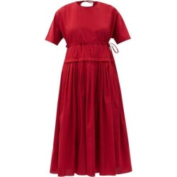 Pleated-waist Cotton-gauze Midi Dress - Red - Sara Lanzi Dresses found on Bargain Bro Philippines from lyst.com for $838.00