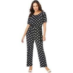 Plus Size Women's Blouson Top Jumpsuit by Jessica London in Black Polka Dot (Size 22 W) found on Bargain Bro Philippines from Ellos for $26.98