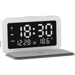 Ivy Bronx 15W Wireless Fast Charger Innovative Multi-Functional Small Alarm Clock Night Light in Black, Size 1.33 H x 6.63 W x 3.59 D in   Wayfair found on Bargain Bro Philippines from Wayfair for $48.99
