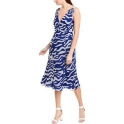 Prabal Gurung V-Neck Silk Midi Dress (10), Women's, Blue found on Bargain Bro from Overstock for USD $150.47