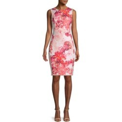Calvin Klein Floral Sheath Dress (watermelon - 4), Women's, White(Polyester) found on Bargain Bro Philippines from Overstock for $83.59