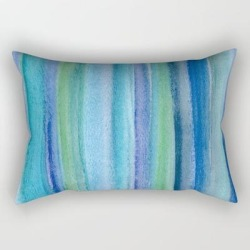 "Blue And Green Watercolor Stripes - Underwater Reeds / Abstract Rectangular Pillow by Metro Shower Curtains - Small (17"" x 12"")"