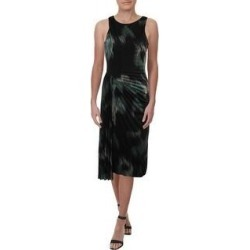 Halston Heritage Women's Printed Ruched Faux Wrap Sleeveless Cocktail Dress - Black Ocean (6), Black Blue(nylon) found on MODAPINS from Overstock for USD $21.14