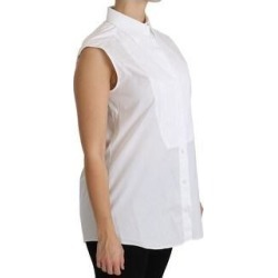 Dolce & Gabbana White Collared Sleeveless Polo Shirt Women's Top (it46-xl)(cotton) found on Bargain Bro India from Overstock for $221.00