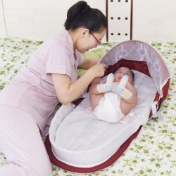ROPALIA Blue Travel Baby Bed w/ Mosquito Net&Toys Foldable Backpack Infant Lounger in Red, Size 17.72 W x 37.4 D...