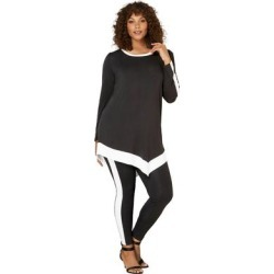 Plus Size Women's Contrast-Trim Lounge Set by Roaman's in Black White (Size 34/36) found on Bargain Bro Philippines from fullbeauty for $39.99