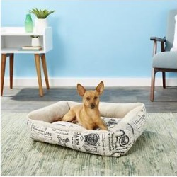 Paws & Pals 1800's Newspaper Bolster Cat & Dog Bed, Medium found on Bargain Bro India from Chewy.com for $23.34