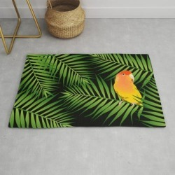 Modern Throw Rug   Lovebird Parrots In Green Palm Leaves On Black by Popparrot - 2' x 3' - Society6
