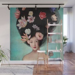 The Botanist's Daughter Wall Mural by Christian Schloe - 8' X 8' found on Bargain Bro from Society6 for USD $159.59