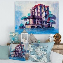 East Urban Home Skyscrapers by the Bridge in Ancient City - Painting on Canvas Metal in Blue/Brown/Green, Size 24.0 H x 32.0 W x 1.0 D in   Wayfair found on Bargain Bro Philippines from Wayfair for $61.46