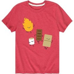 Instant Message Girls' Tee Shirts HEATHER - Heather Red Fire & S'more Tee - Toddler & Girls