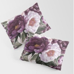 King Size Pillow Sham | Purple Plum Pink Watercolor Peonies And Greenery by Dazzettemarie - STANDARD SET OF 2 - Cotton - Society6 found on Bargain Bro from Society6 for USD $30.39