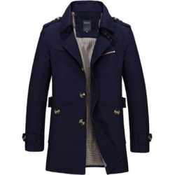 Men Casual Jacket Long Trench Coat Cotton Washed Jacket found on MODAPINS from Overstock for USD $74.22