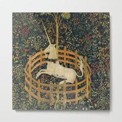 Metal Art Print | The Unicorn In Captivity (from The Unicorn Tapestries) 1495-1505 by Alexandra_arts - LARGE - Society6 found on Bargain Bro from Society6 for USD $100.92